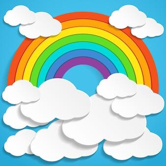 Arco-íris de papel abstrato e nuvens no céu