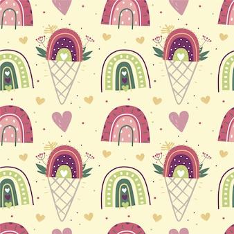 Arco-íris de sorvete de padrão sem emenda