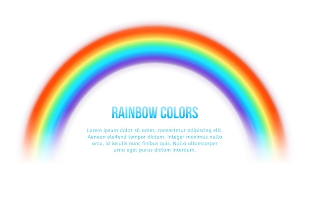 Arco-íris de vetor. brilhante colorido, curva de arte do espectro, arco linear