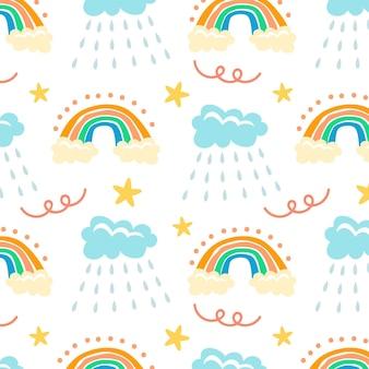 Arco-íris desenhado à mão e padrão de chuva