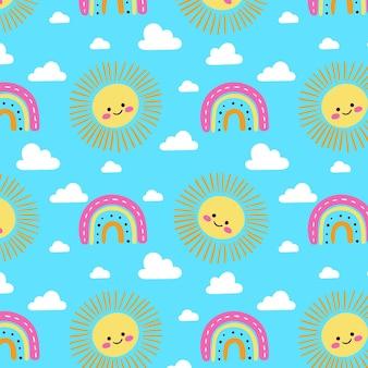 Arco-íris desenhado à mão, nuvens e padrão de sol