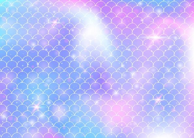 Arco-íris dimensiona o fundo com o padrão de princesa sereia kawaii.