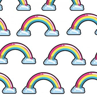 Arco-íris do teste padrão com pop art das nuvens