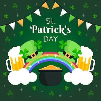 Arco-íris e cervejas do dia de são patrício