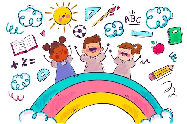 Arco-íris e crianças escola fundo