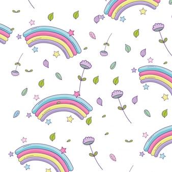 Arco-íris e flores de fundo