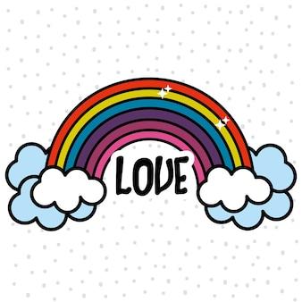 Arco-íris e nuvem com mensagem de paz e amor