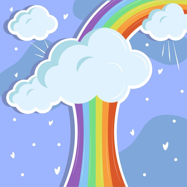 Arco-íris e nuvens adoráveis