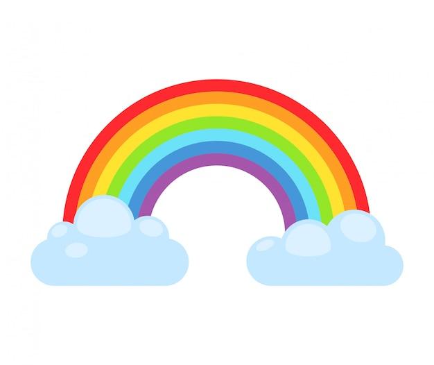 Arco-íris e nuvens isoladas. espectro do arco-íris da nuvem do sinal da natureza. arco-íris da curva do tempo, símbolo abstrato gráfico.