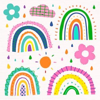 Arco-íris em conjunto de vetores de estilo doodle funky