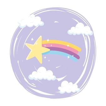 Arco-íris estrela cadente com desenho animado do céu de nuvens