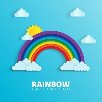 Arco-íris fofo e fundo azul com nuvens