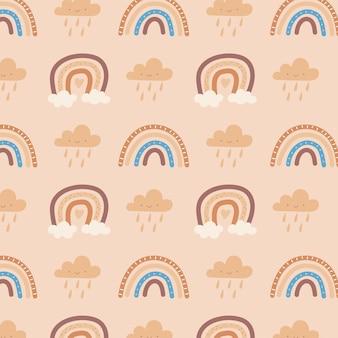 Arco-íris fofo e nuvens
