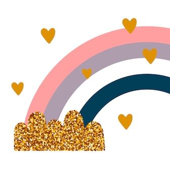 Arco-íris glitter com nuvens e corações. impressão bonito para crianças. ilustração vetorial