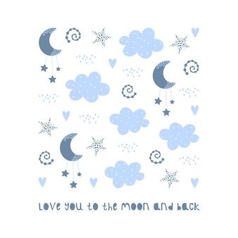 Arco-íris, lua, nuvens e estrelas.