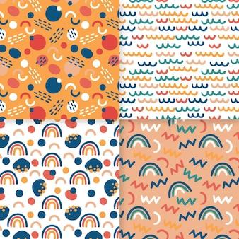 Arco-íris minúsculos abstraem modelo de padrão desenhado de mão