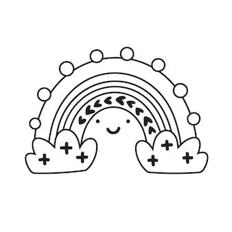 Arco-íris monoline de vetor com rosto e nuvens no estilo escandinavo dos desenhos animados, isolado no fundo branco para crianças.
