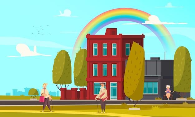 Arco-íris na cidade com pessoas andando no parque