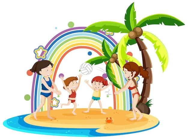 Arco-íris na ilha com crianças jogando vôlei