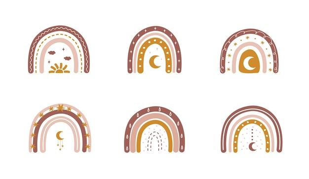 Arco-íris no estilo boho com corações e luas