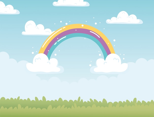Arco-íris nuvens céu campo natureza cartoon decoração