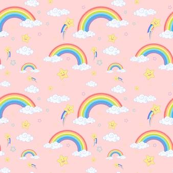 Arco-íris perfeito com padrão de nuvens e estrelas em fundo rosa