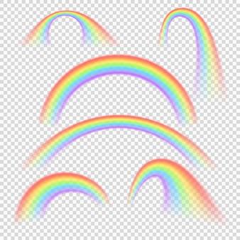 Arco-íris realista de verão arcos conjunto isolado. espectro colorido arco arco-íris