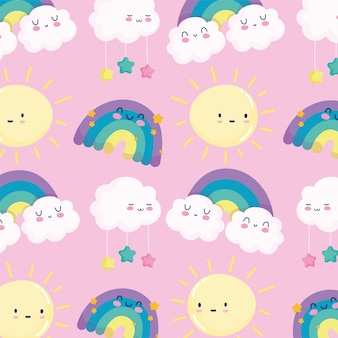 Arco-íris sol nuvens estrelas céu sonho desenho animado decoração fundo rosa ilustração vetorial
