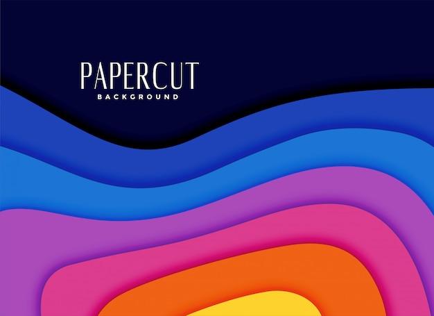 Arco-íris vibrante cores papercut fundo