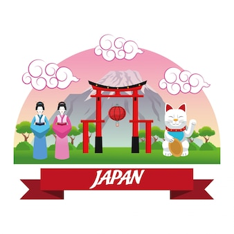 Arco mulher gato sorte arquitetura edifício montanha japão cultura marco ásia ícone famoso