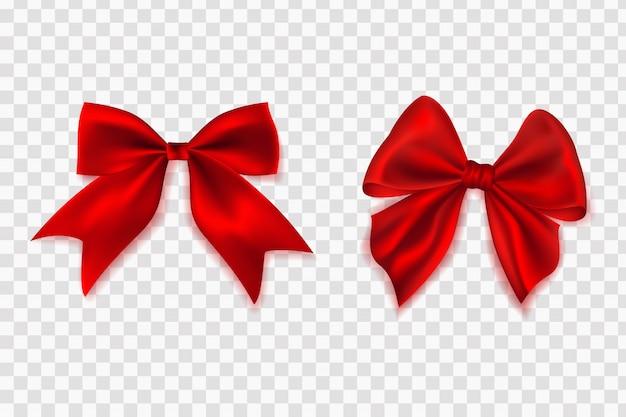 Arco realista. conjunto de diferentes laços vermelhos decorativos para decoração de presente.