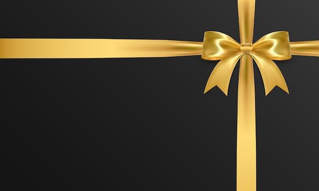Arco realista isolado no preto. laço de presente dourado.