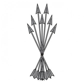 Arco, setas, símbolo, rabisco
