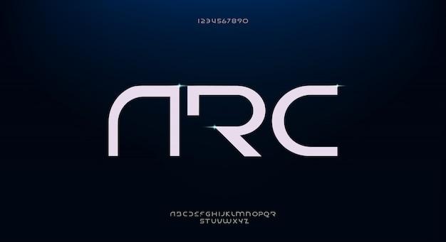 Arco, uma fonte abstrata alfabeto futurista com tema de tecnologia. design de tipografia minimalista moderno