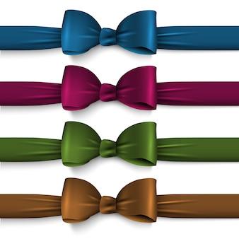 Arcos de seda de cores escuras de coleção com fitas