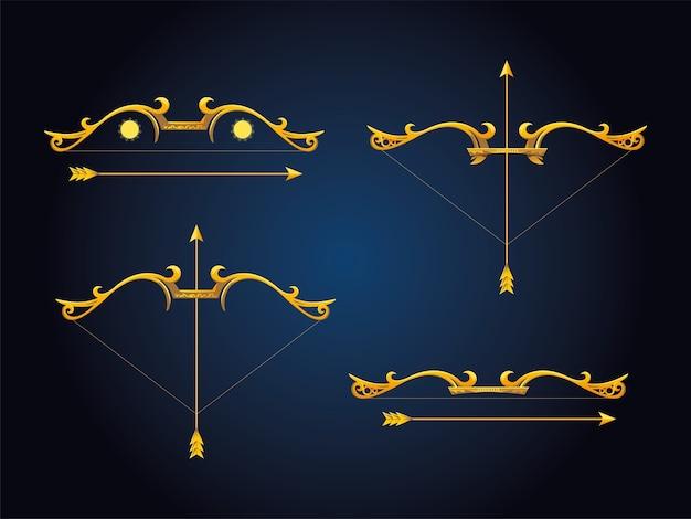 Arcos e flechas dourados sobre fundo azul