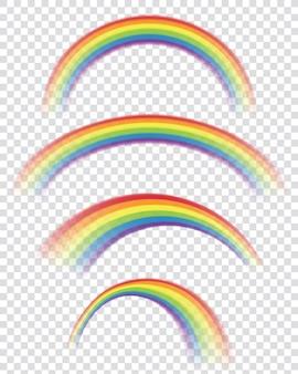 Arcos-íris transparentes em formas diferentes