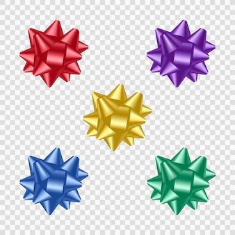 Arcos realistas coloridos para decorar caixas de presente.