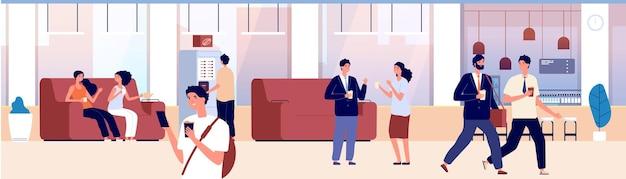 Área comum. sala de espera, hall do escritório ou centro comercial. as pessoas bebem café, chá e conversam. lugar para comunicação, ilustração vetorial de salão de hotel em albergue. sala de café para comunicação