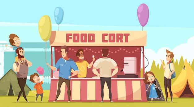 Área de acampamento festival ao ar livre banner retrô dos desenhos animados com barracas de alimentação e pais com crianças