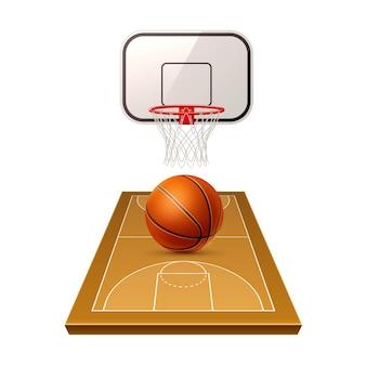 Área de competição de basquete realista com playground de bola e escudo com rede de basquete