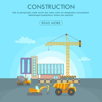 Área de conceito de processo de construção, estilo cartoon