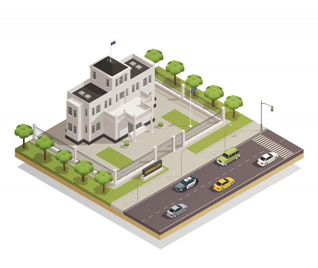 Área de construção do governo isométrica