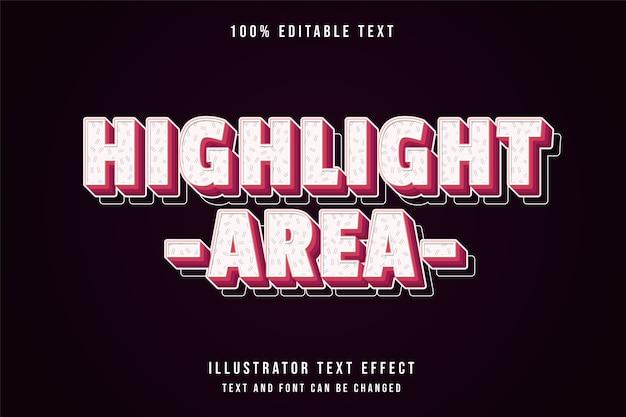 Área de destaque, estilo de texto em quadrinhos com gradação de rosa com efeito de texto editável