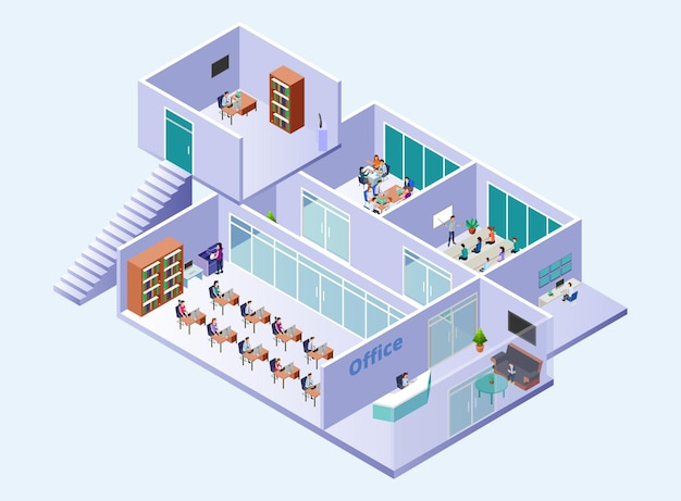 Área de edifício de escritórios e exibição das atividades internas