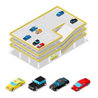 Área de estacionamento isométrica em branco