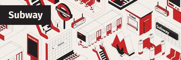 Área de metrô isométrica branca, vermelha e preta