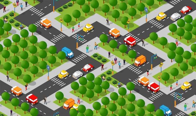 Área de módulo isométrico no centro da cidade