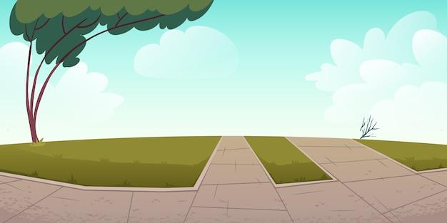 Área de parque ou cidade com caminhos, gramados verdes e árvores