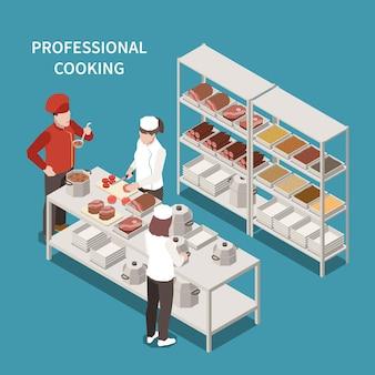 Área de preparação de alimentos de cozinha comercial com equipe de cozinha profissional e chef degustando sopa de composição isométrica